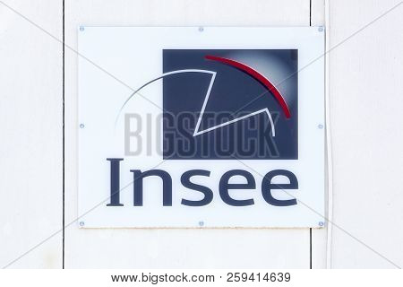 Montpellier, France - July 5, 2018: Insee Logo On A Wall. The National Institute Of Statistics And E