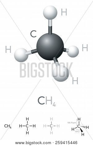 Methane, Ch4, Molecule Model And Chemical Formula. Chemical Compound. Marsh Gas. Natural Gas. Ball-a