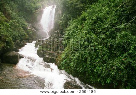 A view of Ramboda falls Sri Lanka in the tea plantation country. poster