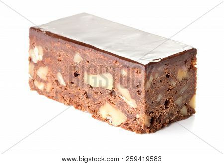 Close-up View Of Chocolate Cake Isolated On White Background