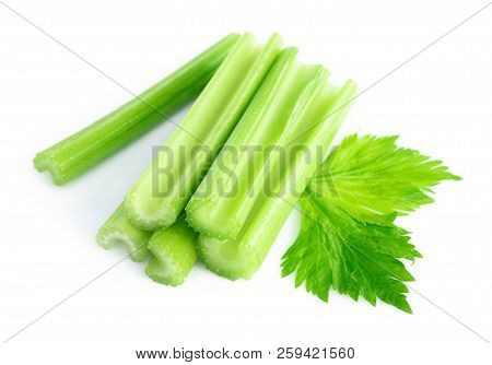 Fresh Green Celery Leaves Vegetable Isolated On White Background, Food For Healthy Concept