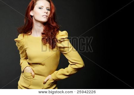 Young attractive fashion model with red hair.
