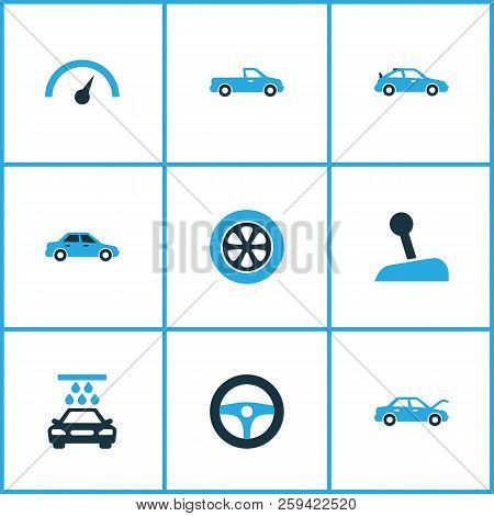 Auto Icons Colored Set With Drive Control, Stick, Crossover And Other Speedometer Elements. Isolated