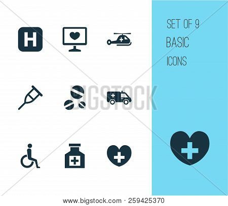 Antibiotic icons set with drug, pain reliever, helicopter and other copter elements. Isolated  illustration antibiotic icons. poster