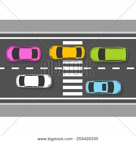Top View Of Cars On Road - Traffic On Highway, View From Above