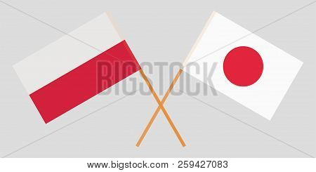 Poland and Japan. Crossed Polish and Japanese flags. Official colors. Correct proportion. Vector illustration poster
