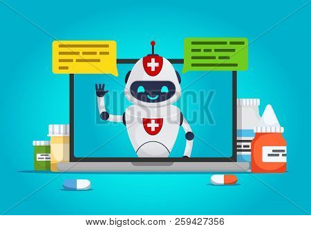 Chat Bot. Online Doctor,future Medical Consultation Concept  Robot Talks To The Patient Through The