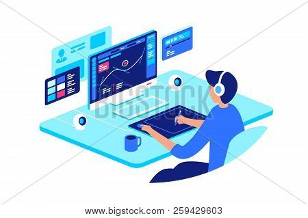 Graphic Designer At Work With High-tech Equipment. Concept Workplace, Craftsman, Device. Vector Illu