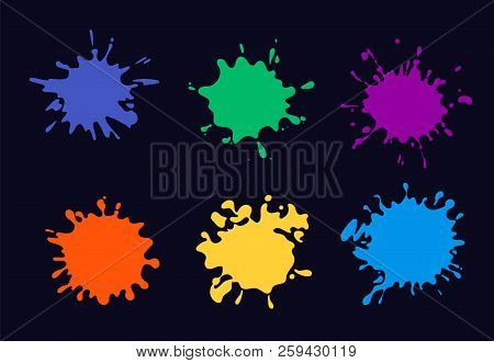 Colored Ink Splash. Paint Splashing And Drop