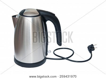 Stainless Steel Electric Kettle Isolated On The White Background