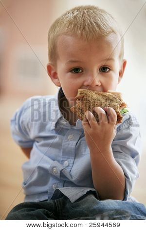 Little cute boy eating healthy sandwich.