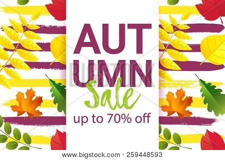 Autumn Sale Up To 70 Off Banner Typography Design. Seamless Autumn Pattern With Fall Leaves