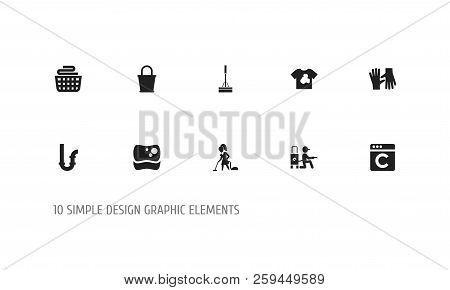 Set Of 10 Editable Hygiene Icons. Includes Symbols Such As Bucket, Dirty T-shirt, Swob And More. Can