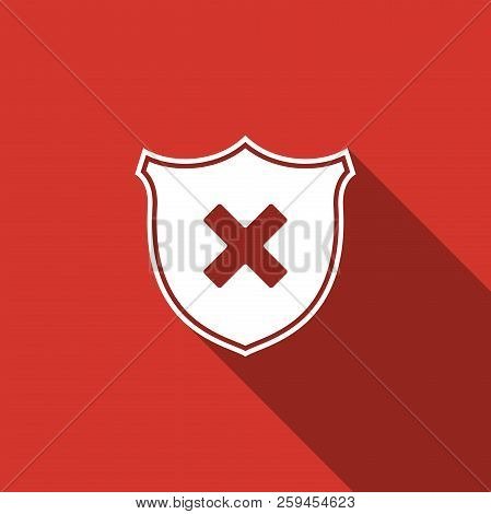 Shield And Cross X Mark Icon Isolated With Long Shadow. Denied Disapproved Sign. Protection And Safe
