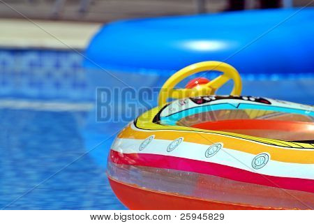 Inflatable toys in the pool