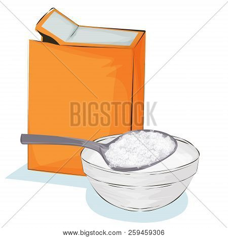 Soda In A Craft Paper Bag And Spoon, Baking Ingredient  Illustration On A White Background