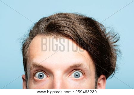 startled eccentric whimsical man with crazy look closeup. head of a young brunet guy peeking out from the bottom of blue background. emotion and facial expression concept. poster