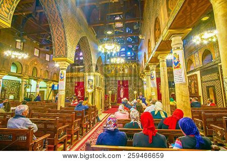 Cairo, Egypt - December 23, 2017: The Central Nave Of The Hanging Church With Medieval Decorated Ico