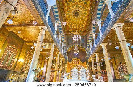 Cairo, Egypt - December 23, 2017: Beautiful Interior Of Ben Ezra Synagogue Is A Mixture Of Ancient J