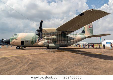 Fairford, Uk - Jul 13, 2018: Royal Air Force Of Oman Lockheed C-130 Hercules Transport Plane On The
