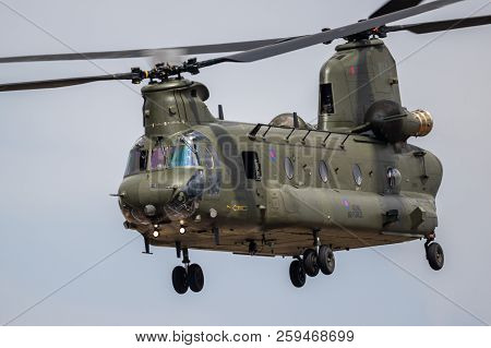 Fairford, Uk - Jul 13, 2018: Uk Royal Air Force Ch-47 Chinook Cargo Helicopter In Flight Over Raf Fa