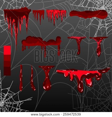 Collection Various Blood Or Paint Splatters, Halloween Concept, Ink Splatter Background, Isolated On