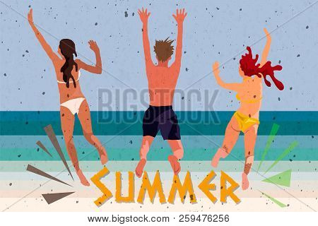 Young People Dancing On The Beach In Swimming Suits And Shorts, Cartoon Style Vector Illustrations I