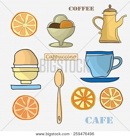 Set Of Menu Items Such As A Coffee