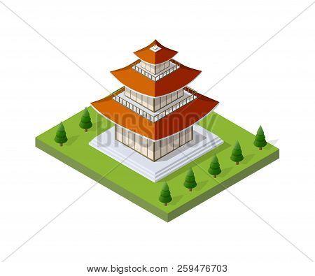 Chinese Pagoda Building House Buddhist Art Of