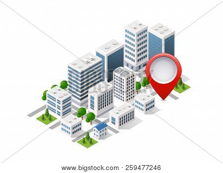 City Set Of Isometric Of Urban Infrastructure
