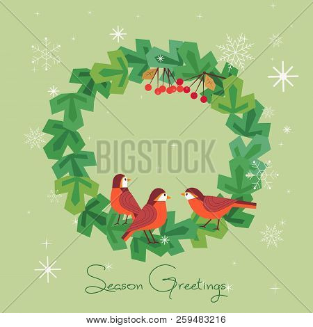 Fancy Seasonal Poster. Cartoon Playful Fun Red Birds In Christmas Tree Wreath. Template For Merry Ch