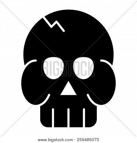 Skull Solid Icon. Death's Head Vector Illustration Isolated On White. Brainpan Glyph Style Design, D