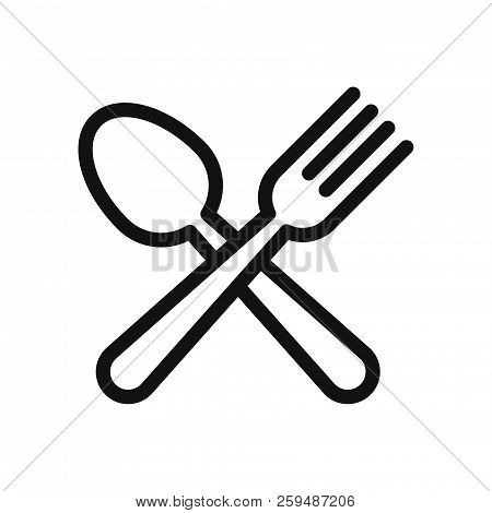 Spoon And Fork Icon Isolated On White Background. Spoon And Fork Icon In Trendy Design Style. Spoon