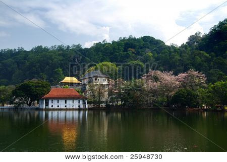 One of the most famous landmarks on Sri Lanka, Temple of the Tooth (Dalada Maligava). This buddhist shrine in the city of Kandy contains relic of the Buddha.