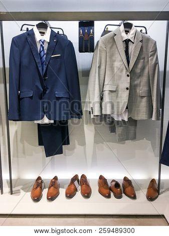 Shop of men's set of shoes , ,suits. Business clothes,