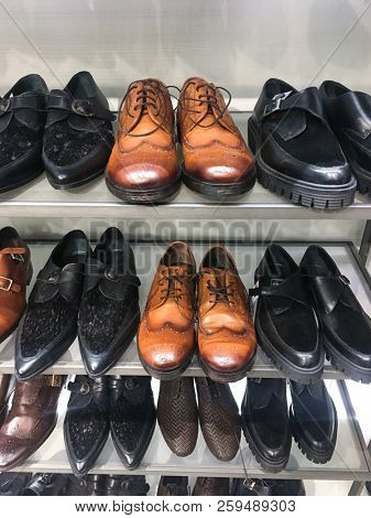 Luxury shoes in shop