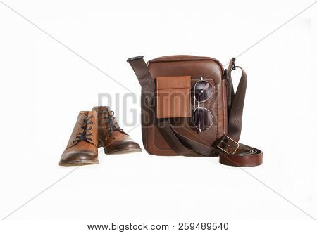 Set of Small brown leather bag, leather shoes , sunglasses, belt
