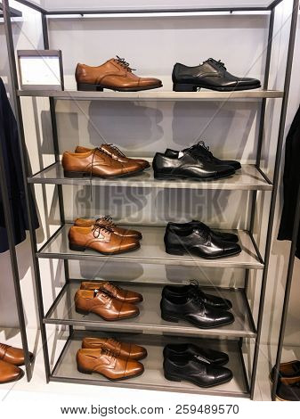 Luxury leather shoes in shop