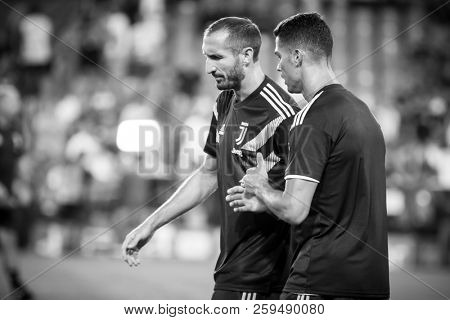 VALENCIA, SPAIN - SETEMBER 19: Chiellini (L) and Ronaldo during UEFA Champions League match between Valencia CF and Juventus at Mestalla Stadium on September 19, 2018 in Valencia, Spain