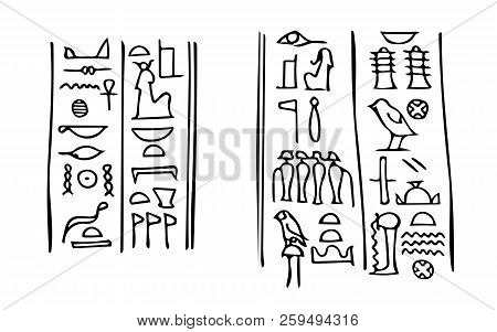 Ancient Egyptian Hieroglyphs With Names Of The Goddess Of Fertility Isis (left) And Her Husband The