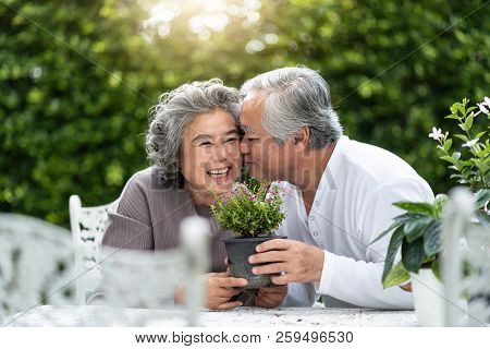 Portrait Of Asian Senior Man Kissing His Wife. Older Couple Enjoying With Planting Flower In The Gar