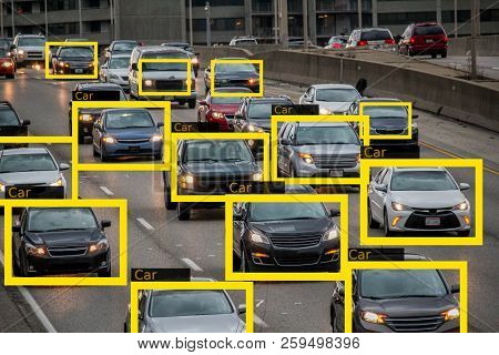 Machine Learning and AI to Identify  Objects technology, Traffic report, Image processing, Recognition technology. poster