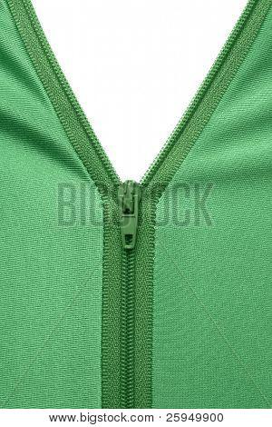 Zipper of a green garment