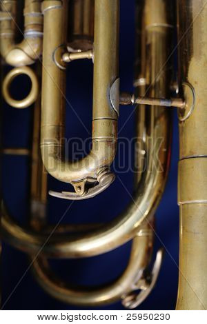 Detail of an old baritone horn