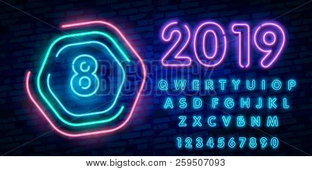 Number Eight Symbol Neon Sign Vector. Eighth, Number Eight Template Neon Icon, Light Banner, Neon Si