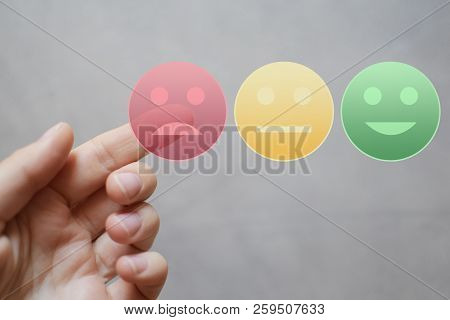 Finger Rating With Sad Neutral Happy Face Icons By Pressing Red Button On Virtual Interface. Custome