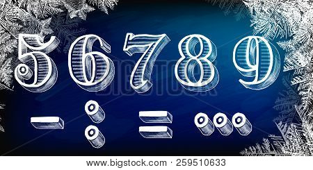 The Set Of Numbers With A Winter Theme For Christmas. Vector Hand Drawn Numbers. Vector Chalk Number