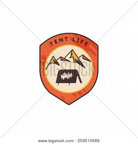 Vintage Hand Drawn Adventure Themed Retro Badge. Logo Is Perfect For T-shirts, Mugs, Prints, Brandin