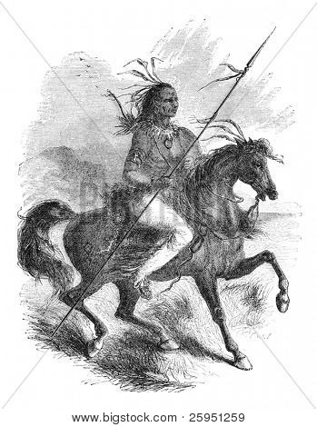 Comanche native american warrior on a horse. Illustration originally published in Ernst von Hesse-Wartegg's