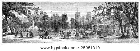 Washington Square, New York. Illustration originally published in Hesse-Wartegg's